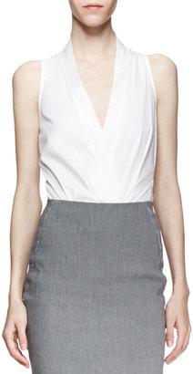 Donna Karan Sleeveless Plunging Poplin Bodysuit, White