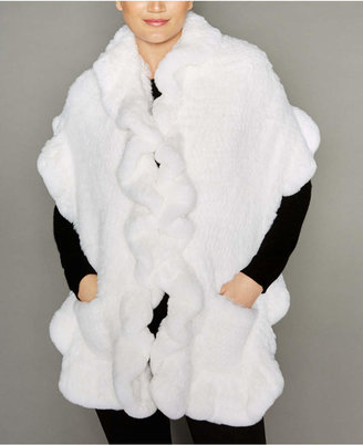 The Fur Vault Knitted Rabbit Fur Ruffled Stole