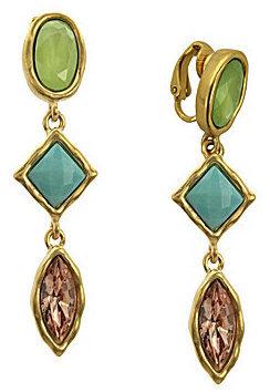 T Tahari Cool Colors Clip-On Drop Earrings