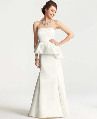 Ann Taylor Duchess Satin Strapless Peplum Wedding Dress
