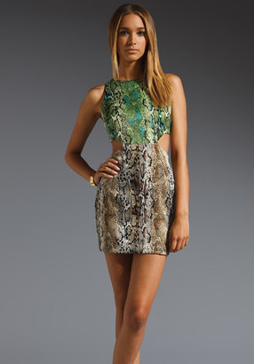 Naven 2 Tone Cut Out Dress in Green/Taupe Python