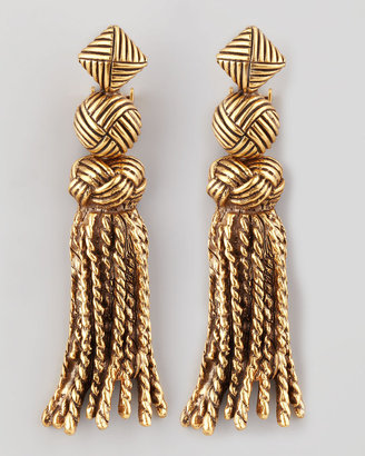 Oscar de la Renta Tassel-Knot Earrings