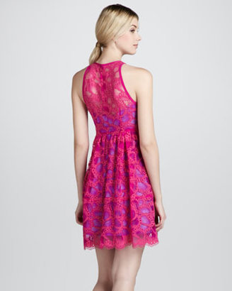 Nanette Lepore Secret Escapes Lace-Overlay Dress, Magenta