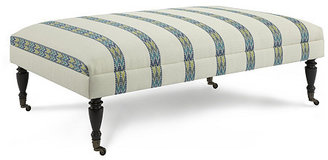 Landon Patterned Ottoman, Cream/Multi