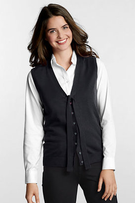 Lands' End Women's Petite Performance Soft V-neck Tie Front Vest