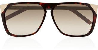 Saint Laurent Oversized rectangular-frame acetate and metal sunglasses