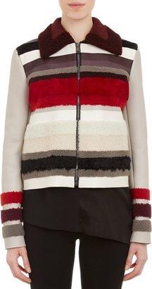 Fendi Leather & Fleece Jacket-Grey