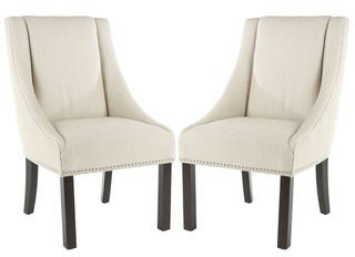 Safavieh Dining Sloping Arm Beige Linen Nailhead Dining Chairs