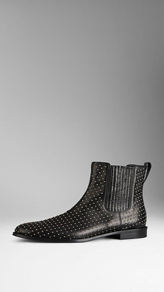 Burberry Studded Buffalo Leather Ankle Boots