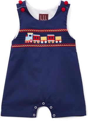 Dark Blue Train Smocked Shortalls - Infant & Toddler