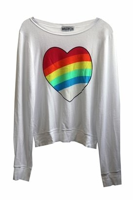 Wildfox Couture Rainbow Bright Baggy Beach Jumper in Clean White