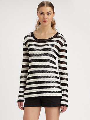 Alice + Olivia Ethan Striped Crochet Sweater