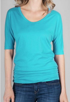 Lilla P Shirred Band Shirt - Pima Cotton Jersey, Elbow Sleeve (For Women)