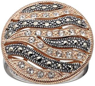 Swarovski Lavish By Tjm Lavish by TJM 14k Rose Gold Over Silver & Sterling Silver Crystal Striped Ring - Made with Marcasite