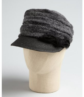 Kimberly Grace Hats grey knit 'Kimberly Casquette' straw brim hat