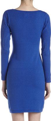 Catherine Malandrino Pointelle Knit Two-Layer V-Neck Dress, Galaxy