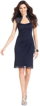 Xscape Evenings Cap-Sleeve Metallic Lace Dress