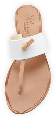Joie Nice T-Strap Thong Flat Sandal, White/Natural