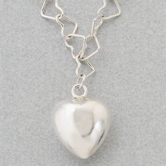 Sterling Silver Puff Heart Pendant & Heart Chain