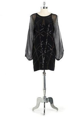 Nicole Miller Silk Split Sleeved Beaded Shift Dress