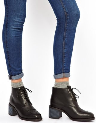 F-Troupe Chunky Western Lace Up Ankle Boots