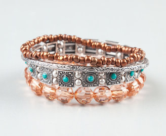 Full Tilt 4 Piece Turquoise Bead Bracelets