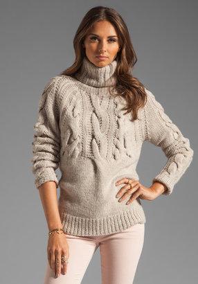 Halston LS Cable Rib Turtleneck Sweater