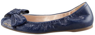 Prada Leather Logo Bow Scrunch Ballet Flat, Blue