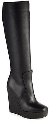 Fendi Anja Leather Knee-High Wedge Boots