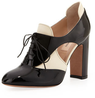 Valentino Lace-Up Cutout Spectator Pump/Bootie