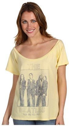 Junk Food The Beatles Off The Shoulder Flirt Tee (Vintage Yellow) - Apparel
