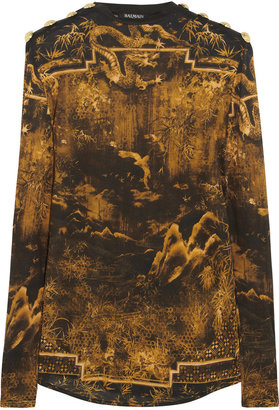 Balmain Printed cotton-jersey top