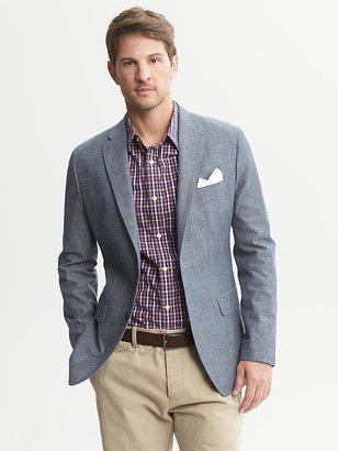 Banana Republic Tailored-Fit Chambray Two-Button Blazer