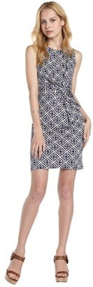 Julie Brown JB by navy and white printed stretch jersey 'Kathleen' knotted front sleeveless dress