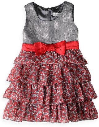 Pumpkin Patch Sequin Bodice Frill Dress