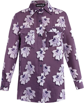 House of Holland Floral-print silk blouse