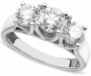 Macy's X3 Certified Three-Stone Diamond Ring in 14k White Gold (2 ct. t.w.), Created for