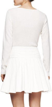 Vince Tamara Mellon Long-Sleeve Dress with Wool Knit Top and Suede Skirt, Creme