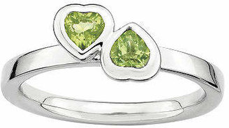 Personally Stackable Genuine Peridot Sterling Silver Double-Heart Ring Family