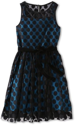 Us Angels Dotted Mesh Overlay Dress (Big Kids) (Black/Teal) Girl's Dress