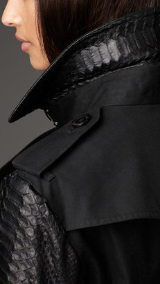Burberry Long Gabardine Python Sleeve Trench Coat