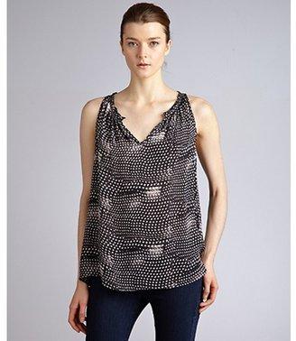 Gemma black and white blurry dot silk 'Ada' sleeveless babydoll blouse
