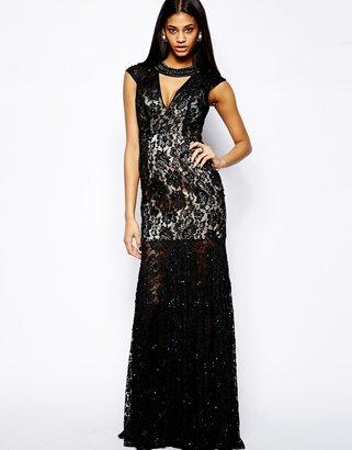 Forever Unique Chloe Lace Detail Maxi Dress - Black