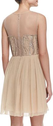 Nicole Miller Illusion Beaded-Bodice Cocktail Dress