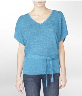 Calvin Klein Textured Lurex Poncho Style Sweater