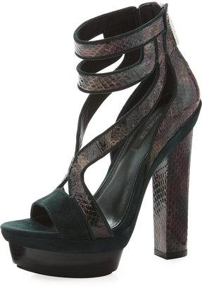 Rachel Zoe Payton Snakeskin-Suede Sandal, Dark Green