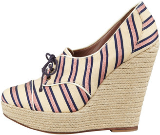 Tabitha Simmons Tie Striped Oxford Wedge, Pink/Navy
