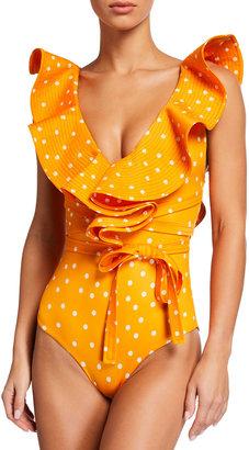 Johanna Ortiz Cenote Diver Polka-Dot Ruffle One-Piece Swimsuit