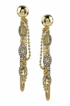 Belle Noel by Kim Kardashian 14KT Gold Nugget and Pave Chain Earrings