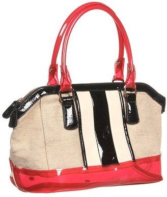 Melie Bianco Ruby Canvas Satchel with Contrast Stripes and Clear Jelly Trim